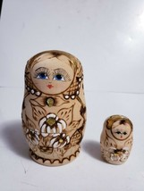Vtg Hand Burned & Painted Wood Russian Nesting Dolls INCOMPLETE - 2 Doll... - $7.91