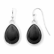 Liz Claiborne Women's Black Bead Drop Earrings Silver Tone New - $14.84