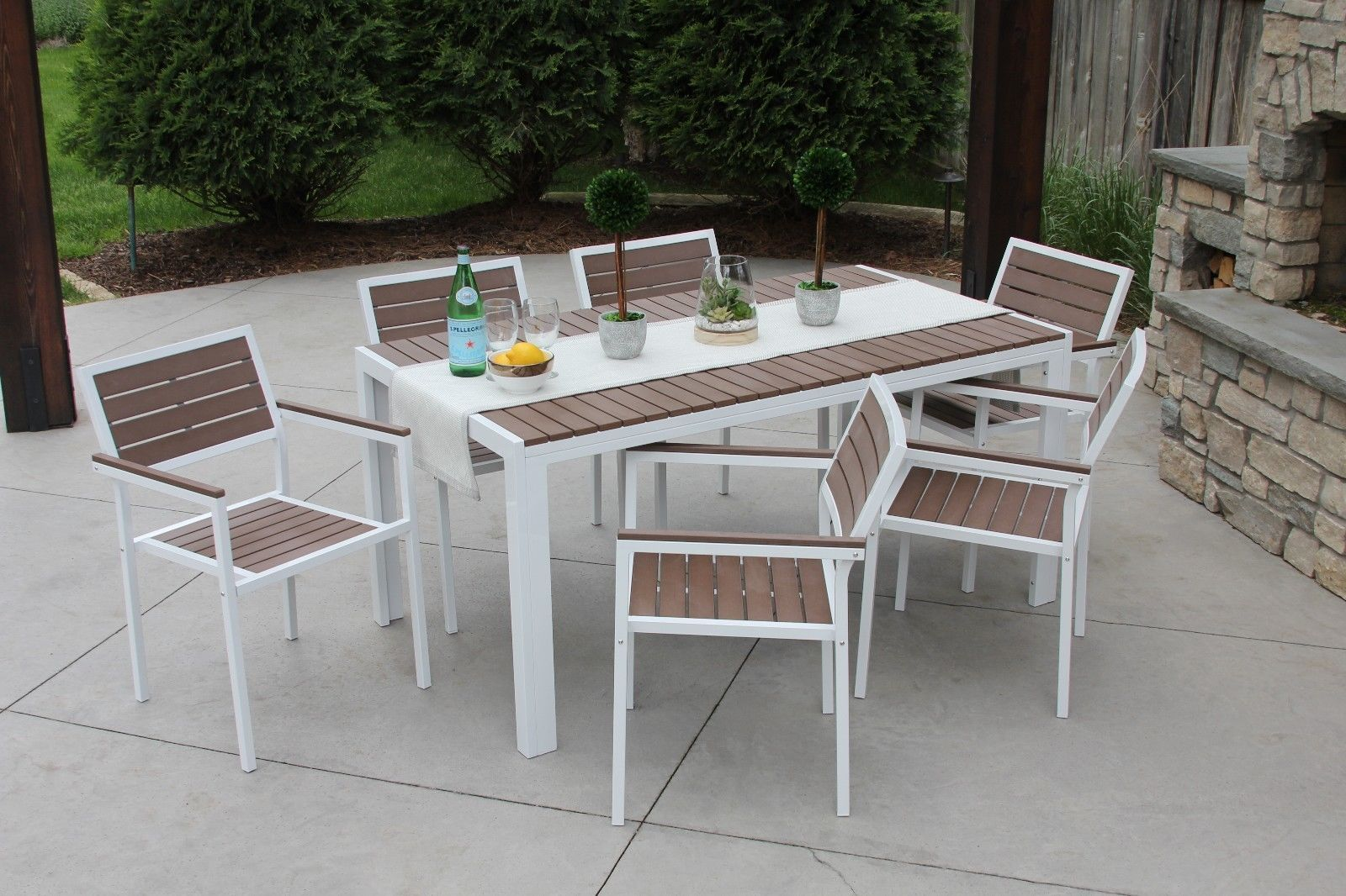 7pc Outdoor Dining Set White Aluminum & Brown Wood Finish