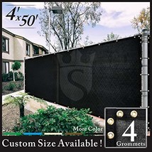 Royal Shade 4' x 50' Black Fence Privacy Screen Cover Windscreen, with H... - $58.90