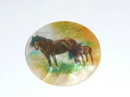 Pretty Mama Horse & Foal on MOP Button on Mother of Pearl Shank Button 1... - $11.99