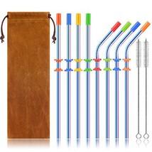 Stainless Steel Straws Set, Kereda 8 Pack 10.5 Inch Long Drinking Metal ... - $9.81