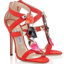 $1500 Jimmy Choo Colada  Pump Flame Red Suede Heel Embellished Sandal Sh... - $483.00