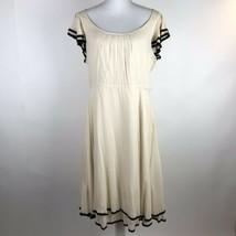 $128 Maeve Anthropologie Dress Women's Size 12 Beige Black Ruffle A-Line... - $46.50