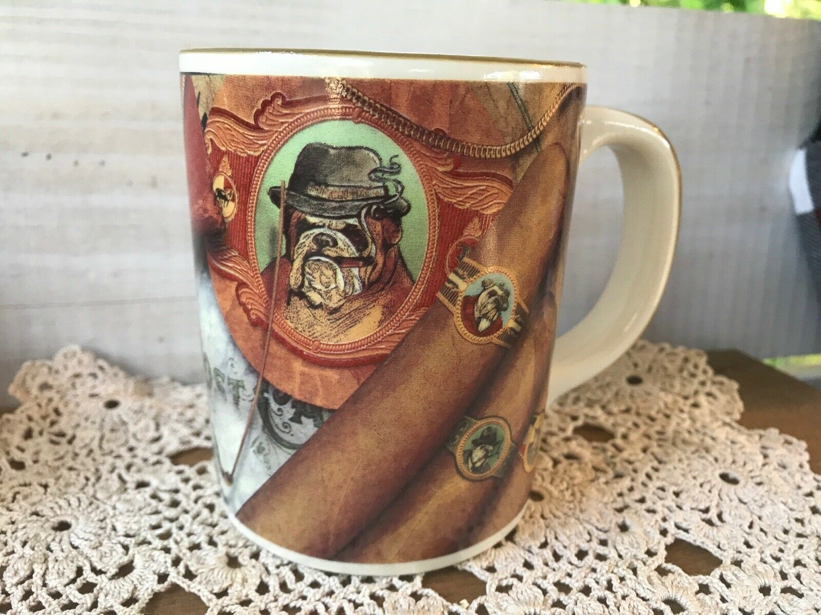 Primary image for Vtg Russ Berrie Co. Bulldog Cigars Coffee Mug Tea Cup Pocket Watch Eyeglasses