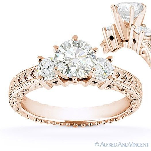 Primary image for Forever Brilliant Round Cut Moissanite 3-Stone Engagement Ring in 14k Rose Gold