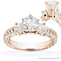 Forever Brilliant Round Cut Moissanite 3-Stone Engagement Ring in 14k Rose Gold - €628,69 EUR - €1.760,36 EUR