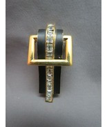 VTG Trifari Art Deco Brooch Princess Cut Rhinestones Black Enamel Door K... - $39.59