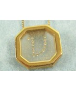 Avon Initial V Rhinestones in Frosted Glass Gold Plate Pendant Necklace ... - $13.81