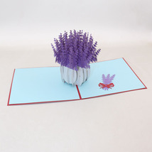A Pot Of Lavender--3D Greeting Card, Pop Up Card, Pop Out Card - $5.79