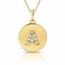 14K Solid Yellow Gold Initial Round Disc Letter Pendant Necklace 0.25 ct... - $46.95