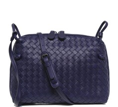 New Bottega Veneta Intrecciato Nappa Pillow Atlantic Blue Leather Cross ... - $1,174.04