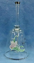 Fenton Crystal 25th Anniversary Bell Pink Lily Flowers W/ Silver Rim Let... - $19.99