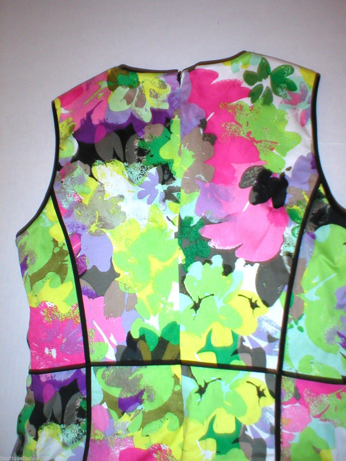 New Calvin Klein 8 Bright Floral Womens Sheath Dress Black Pink Purple Green Yel