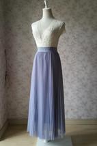 Gray Full Long Pleated Skirt Women High Waisted Gray Pleated Tulle Maxi Skirt  image 4