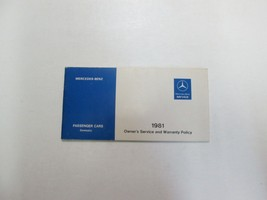 1981 Mercedes Benz Passenger Cars Owners Service & Warranty Policy Manua... - $39.59