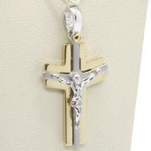 Pendentif Croix or Jaune Blanc 750 18K, avec Christ, Brillante et Satin image 1