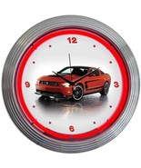 New Ford Mustang Boss 302 red neon game room bar garage clock   Fast Fre... - $79.95