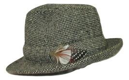 Jonathan Richard Hat Mens Size 6 7/8 Vintage Irish Tweed Wool Feather Ac... - $24.74