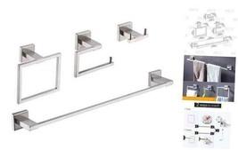 4-Piece Bathroom Accessory Set Including Towel Bar 24-Inch Towel Bar Br... - $81.46