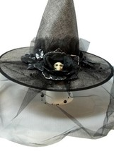 Grey Burlap Halloween Witch Hat w/ Veil Bow Skull Flower - €16,97 EUR