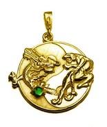 BIG YIN YANG Dragon Tiger Gold VERMEIL Sterling silver 925 EMERALD PENDA... - $68.31