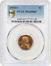 1910-S 1c PCGS MS65 RD - Lincoln Cent - $659.60