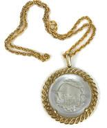 Vintage Signed Crown Trifari Etched Glass Pendant  Necklace Taurus Zodiac  - $17.77