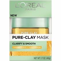L'oreal Paris  Clay Mask Clarify & Smooth  3 Pure Clays + YUZU Lemon  - $5.93
