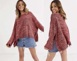 NEW Free People M Medium Prism Pullover Sweater Linen Blend Pink $128 - $48.11