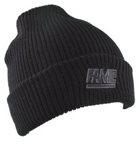 Hall of Fame Mens 2nd Sucks Black Knit Cuff Fold Skate Beanie Winter Ski Hat NWT