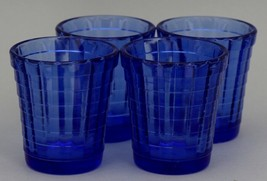 Vintage Akro Agate Toy Dish: 4 Cobalt Blue Stacked Disk Interior Panel Tumblers