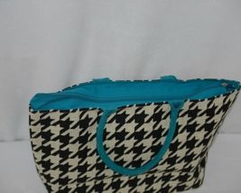 GANZ Brand ER39334 Style 101 Large Burlap Black Cream Purse Teal Handle image 3