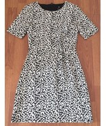 H&M Sheath Dress Size 4 Black Leopard Print Cinched Waist - $15.84