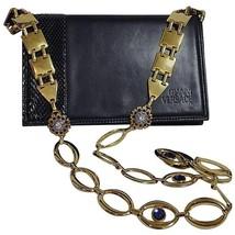 Vintage Gianni Versace navy shoulder bag, clutch with snakeskin and jewel motifs - $882.00