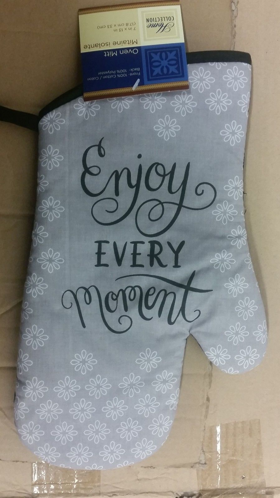 "Primary image for Printed 13"" Jumbo Oven Mitt, ENJOY EVERY MOMENT black back"