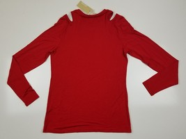 Michael Kors open shoulder cherry  red shirt Top womens size Small Stretch - $29.99