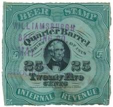 REA39c Quarter Barrel Beer Tax Stamp, 25c pale green paper, Series of 1878 - $32.00