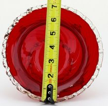 Venetian Glass Ruby Footed Bowl with Rigaree Trim and Rossette Gems 1950s image 3