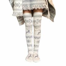 New Hot Print Long Socks Women Christmas Thigh High Long Stockings Knit ... - $34.05