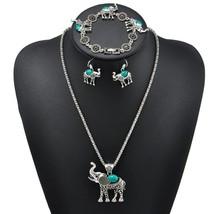 Vintage Elephant Shape Carved Three - Piece Suit Jewelry Bohemian Jewelry Women  - $11.84