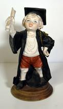 """7"""" Vintage Capodimonte Porcelain Statue Cute Graduate School Boy Graduat... - $85.49"""