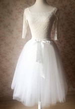 White Midi Tutu Skirt 4-Layered White Puffy Tulle Skirt Short Plus Size image 1
