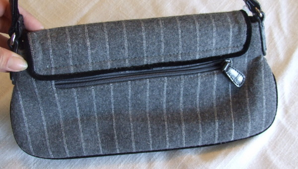 Small Gray Wool Blend Purse with Button, bead and Feather Embellishments