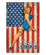 Stars & Stripes Pin-Up Metal Sign - $30.00