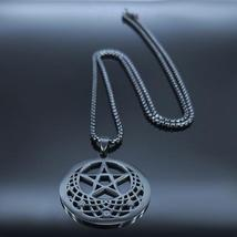 Sun Moon Pentagram Stainless Steel Silver Color Necklace image 6