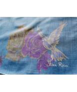Large 1960s Nina Ricci Dove and Roses Handkerchief MOD Minimalist Muted ... - $19.90