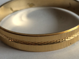Vintage Crown Trifari Gold Plated and Diamond Cut Etched Bangle Cuff Bracelet - $25.00