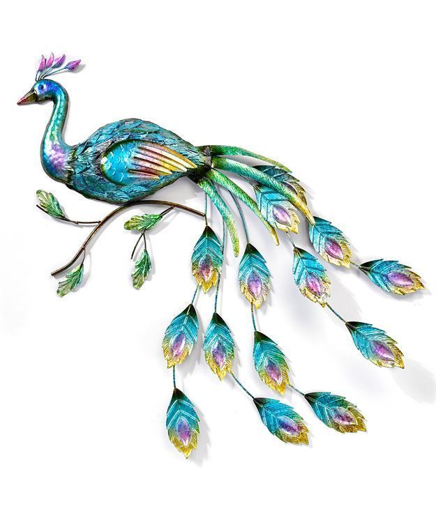 "43"" Metal Opalescent Peacock Design Wall Plaque - Cut Out Feather Design Accents"