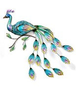 """43"""" Metal Opalescent Peacock Design Wall Plaque - Cut Out Feather Design... - $138.59"""